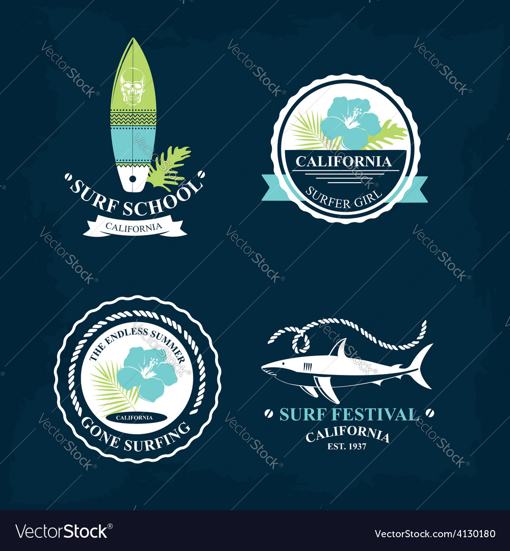 Surfing summer icons labels collection vector | Price: 1 Credit (USD $1)