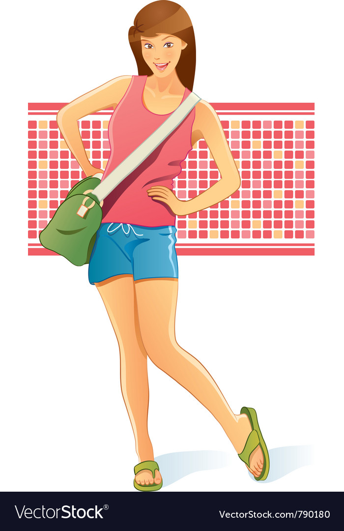 Traveling girl with bag vector | Price: 5 Credit (USD $5)