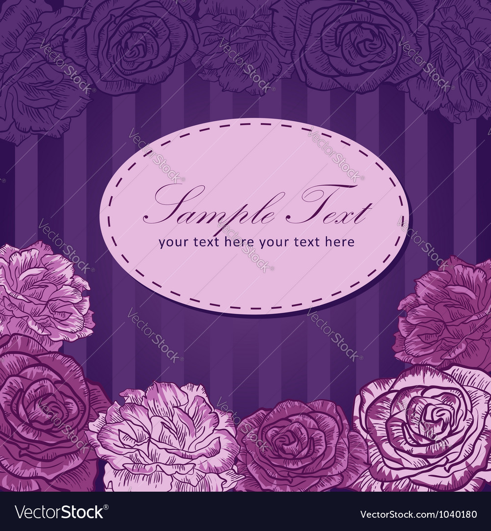 Valentine flower stripe invitation love card vector | Price: 1 Credit (USD $1)