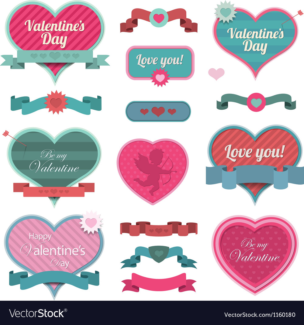 Valentine heart shaped decoration and ribbons vector | Price: 1 Credit (USD $1)