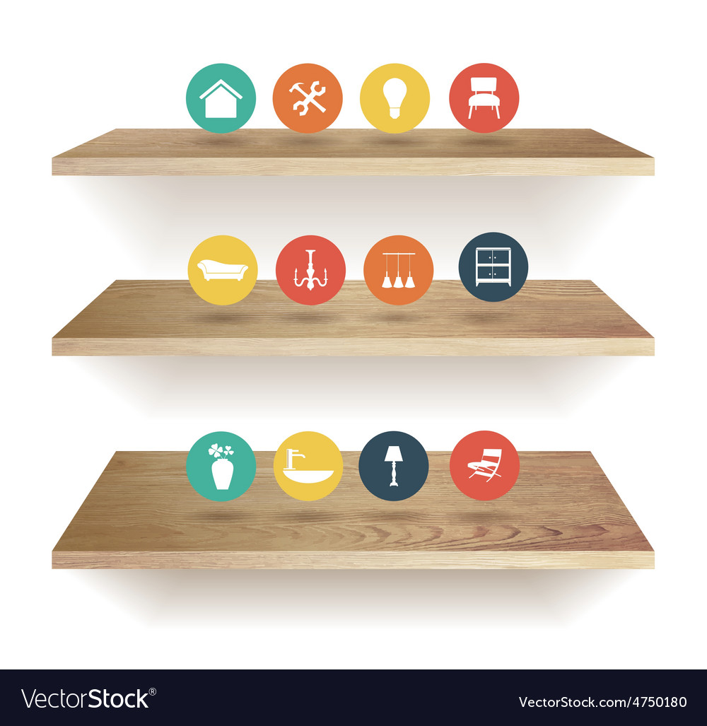 Wooden shelves vector | Price: 3 Credit (USD $3)