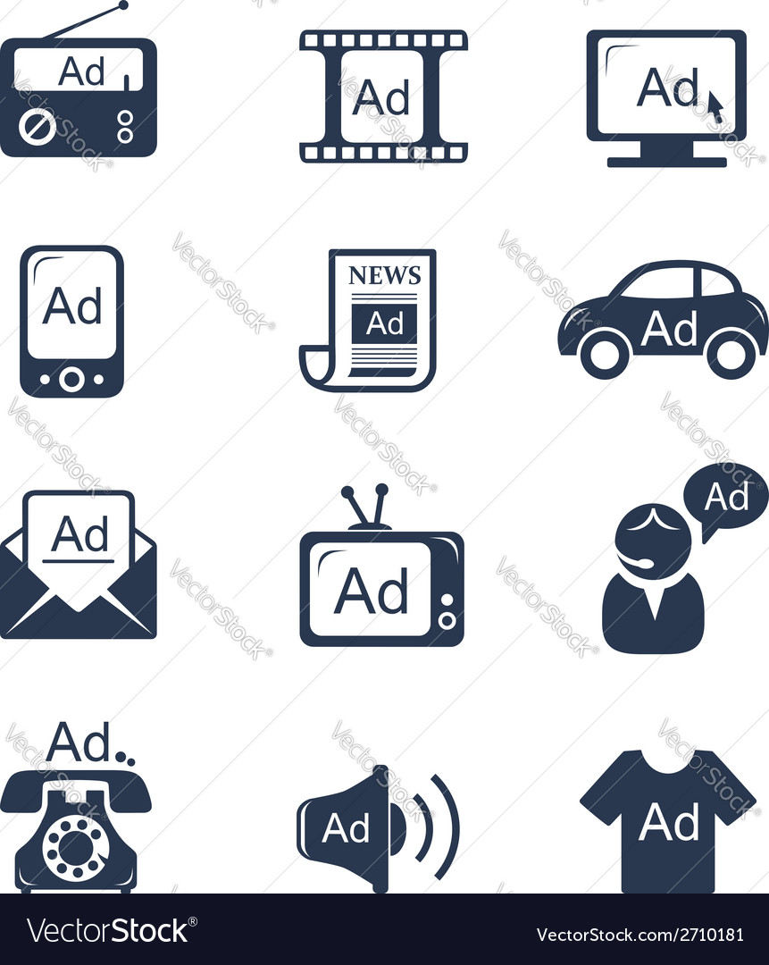 Advertisement icons set vector | Price:  Credit (USD $)