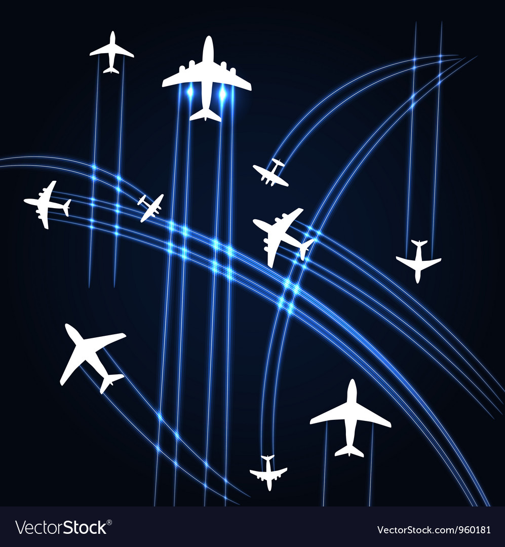 Airplanes trajectories background vector | Price: 1 Credit (USD $1)