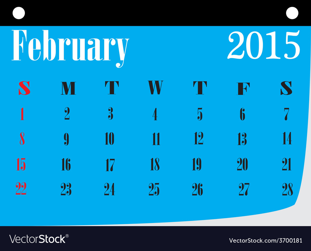 Calendar february 2015 vector | Price: 1 Credit (USD $1)