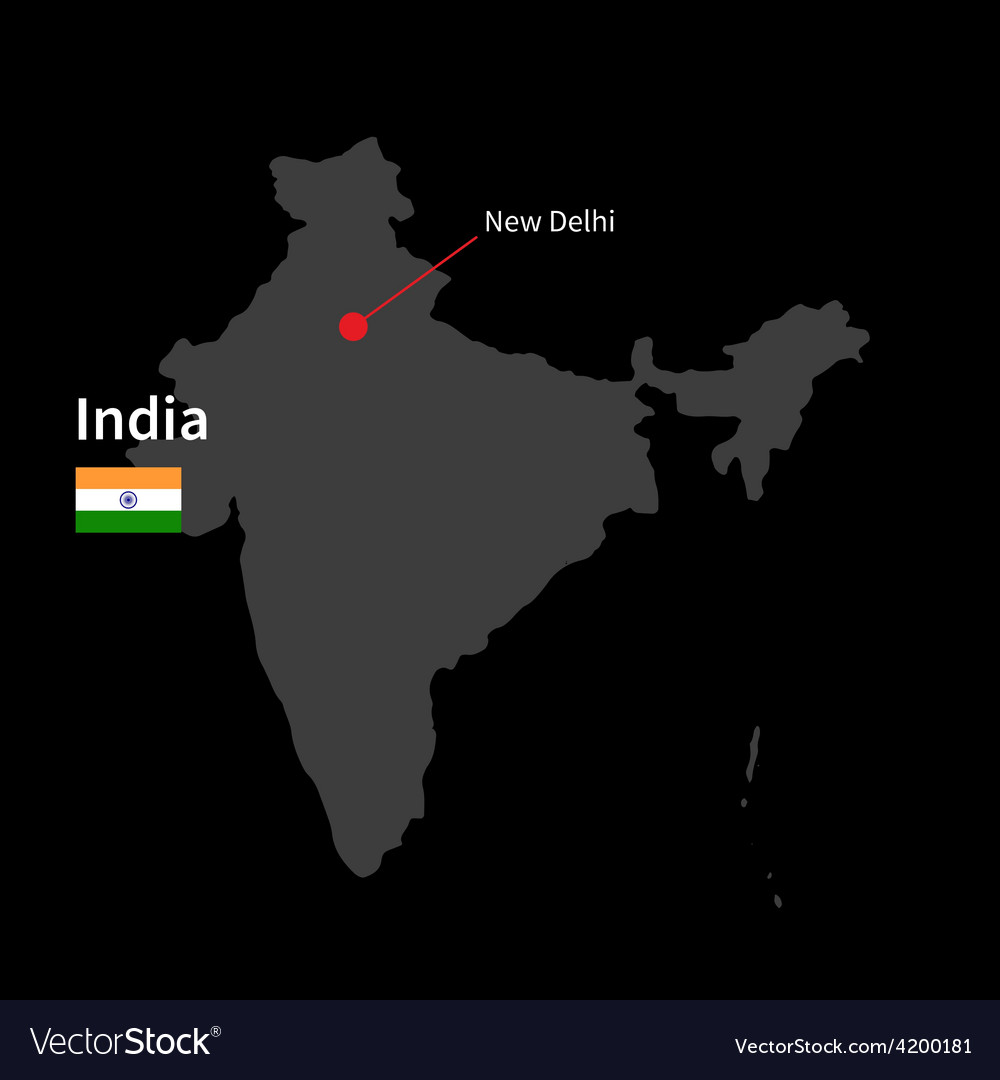 Detailed map of india and capital city new delhi vector   Price: 1 Credit (USD $1)
