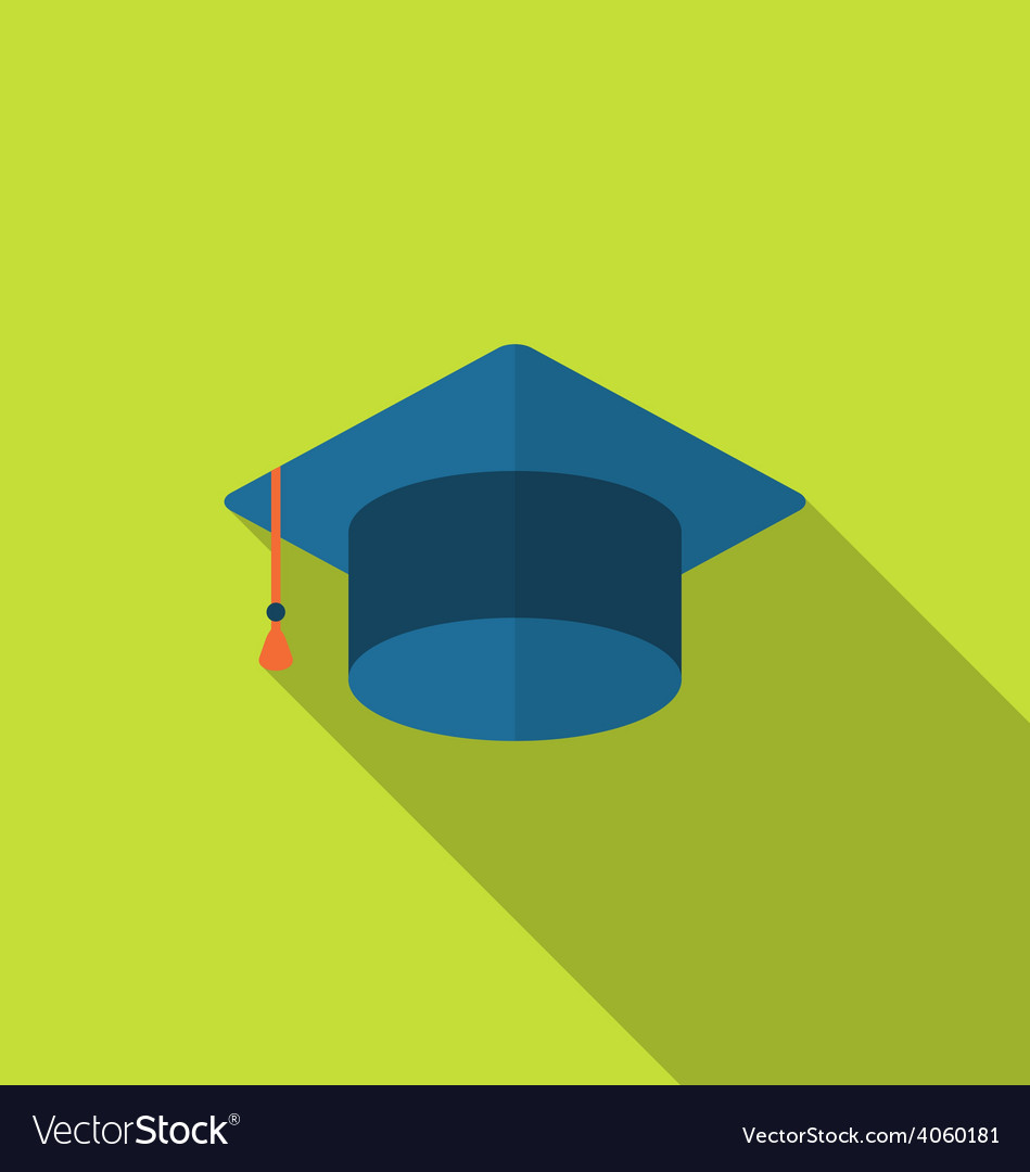 Flat icon graduation cap with long shadow style vector | Price: 1 Credit (USD $1)