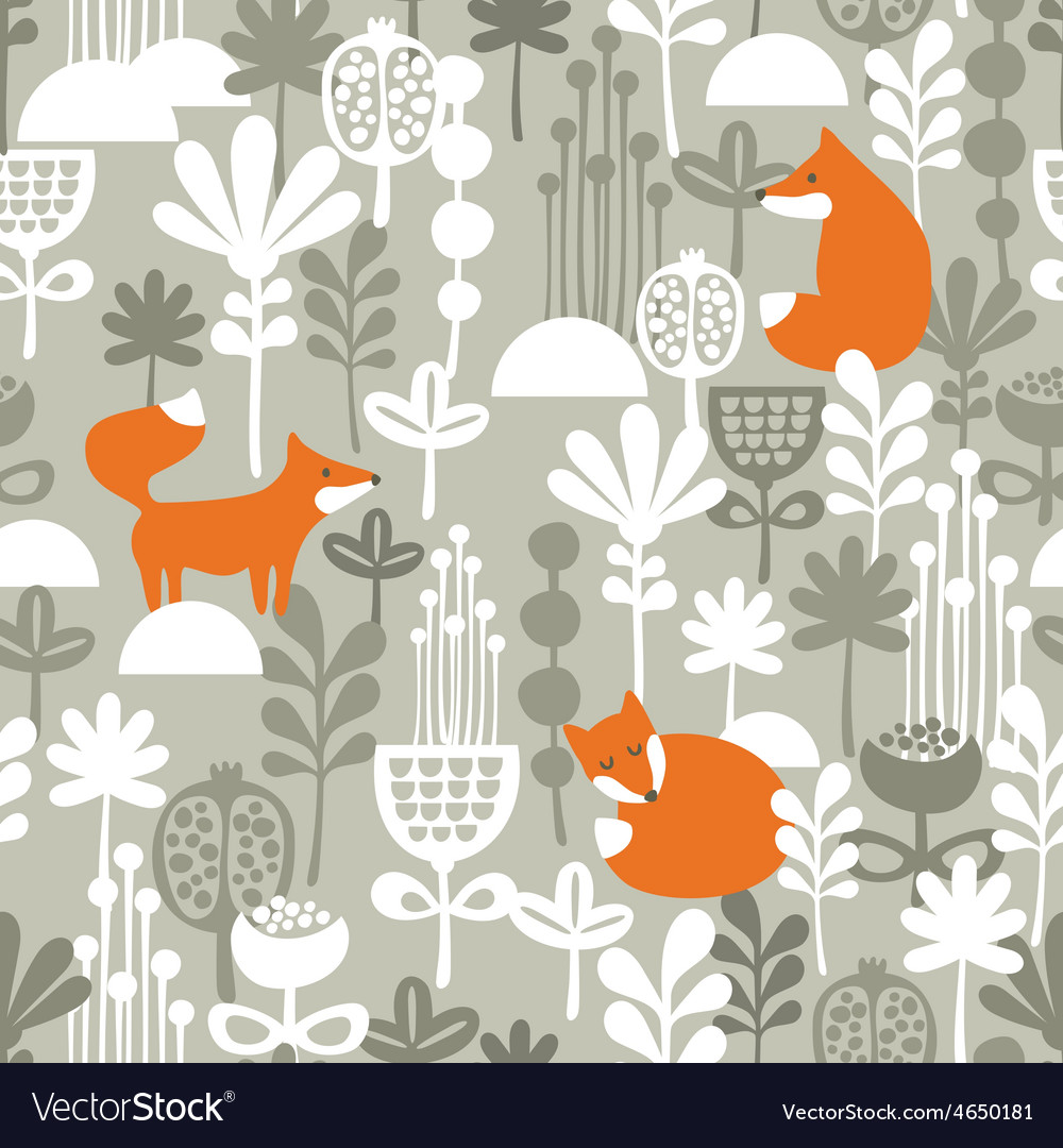Fox in winter forest seamless pattern vector