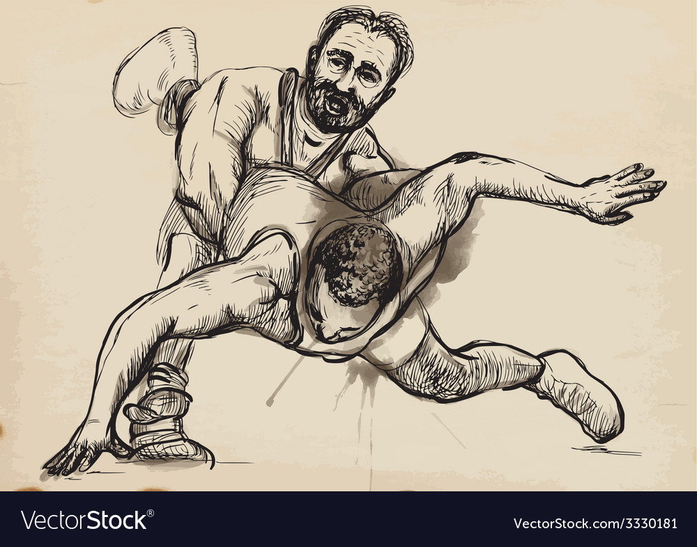 Greco-roman wrestling an hand drawn vector | Price: 3 Credit (USD $3)