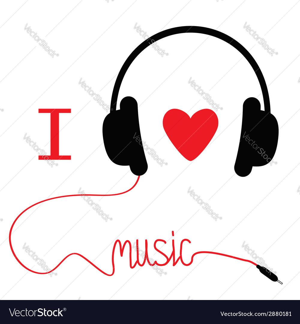 Headphones with red cord and heart i love music vector | Price: 1 Credit (USD $1)