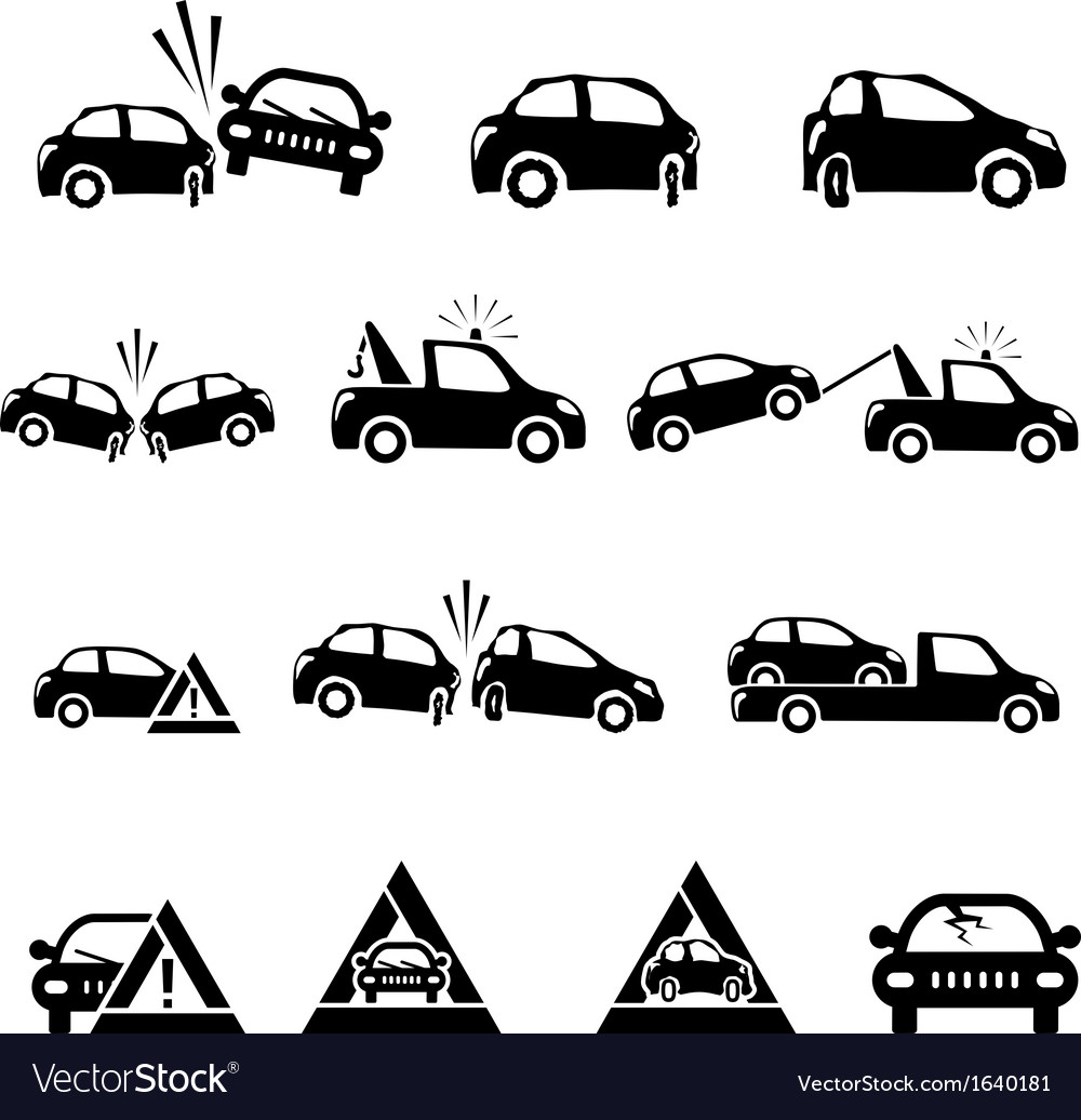 Icons set of car accident vector | Price: 1 Credit (USD $1)