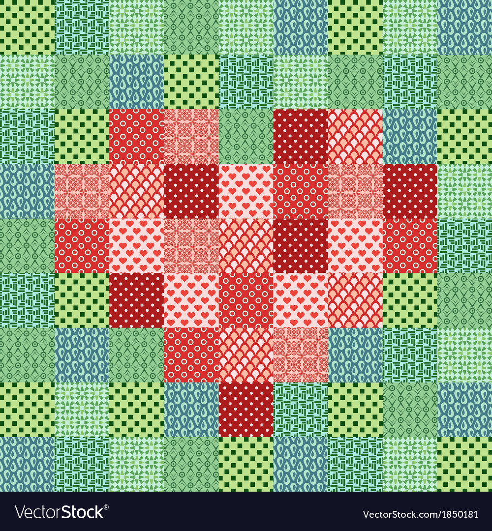 Patchwork mosaic with heart vector | Price: 1 Credit (USD $1)