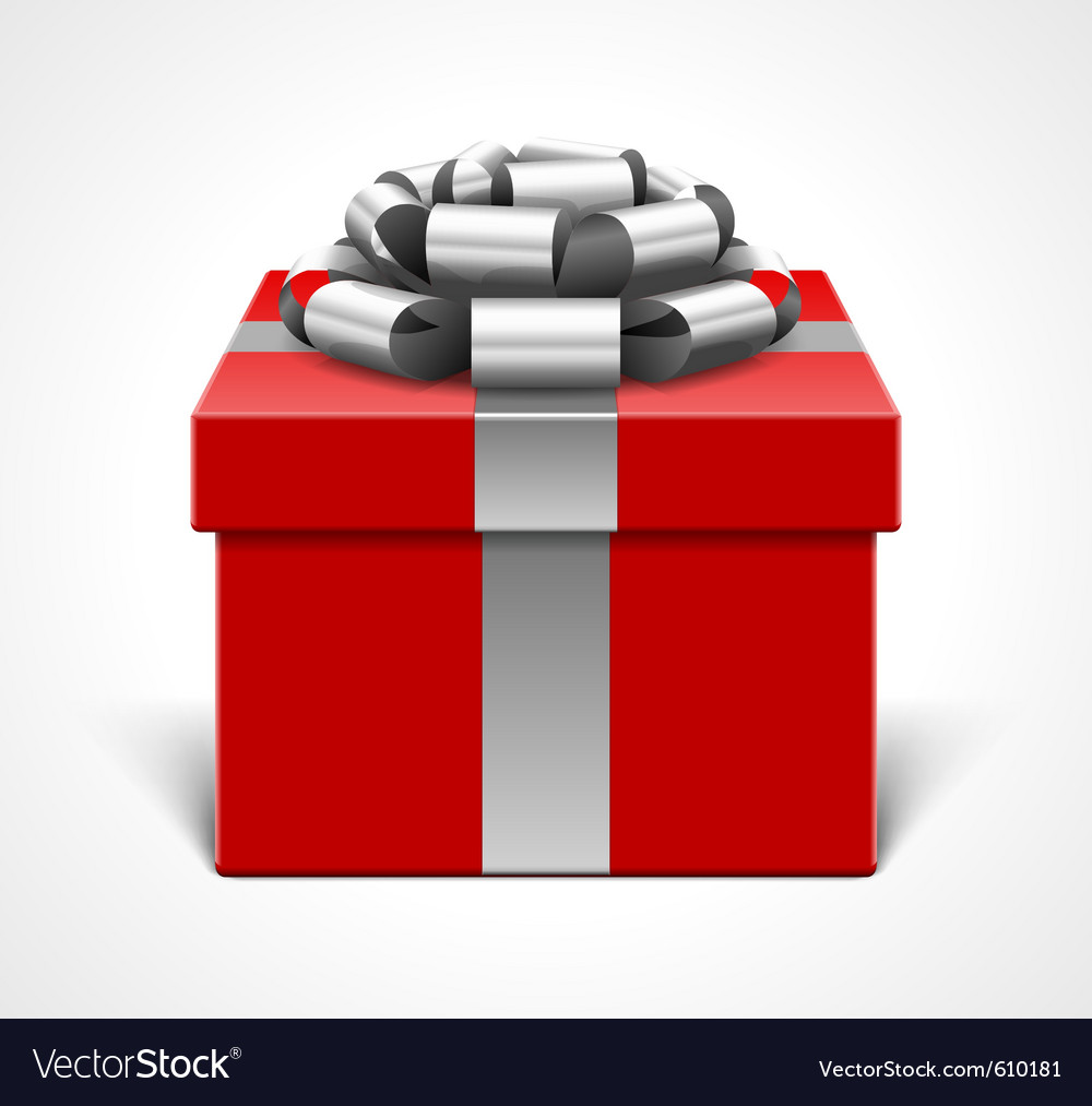 Red gift box with gray ribbon vector   Price: 1 Credit (USD $1)