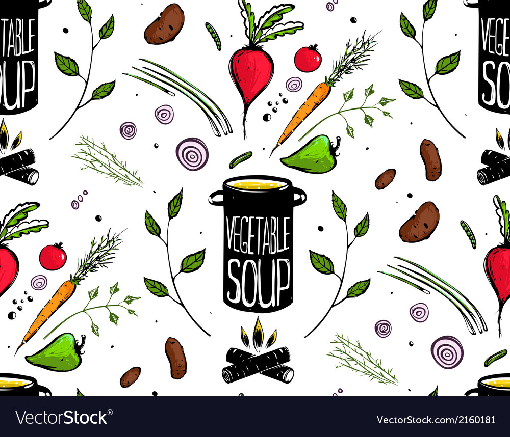 Seamless pattern cooking vegetable soup vector | Price: 1 Credit (USD $1)
