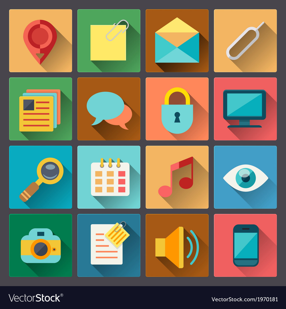 Set of web icons in flat design style vector | Price: 1 Credit (USD $1)
