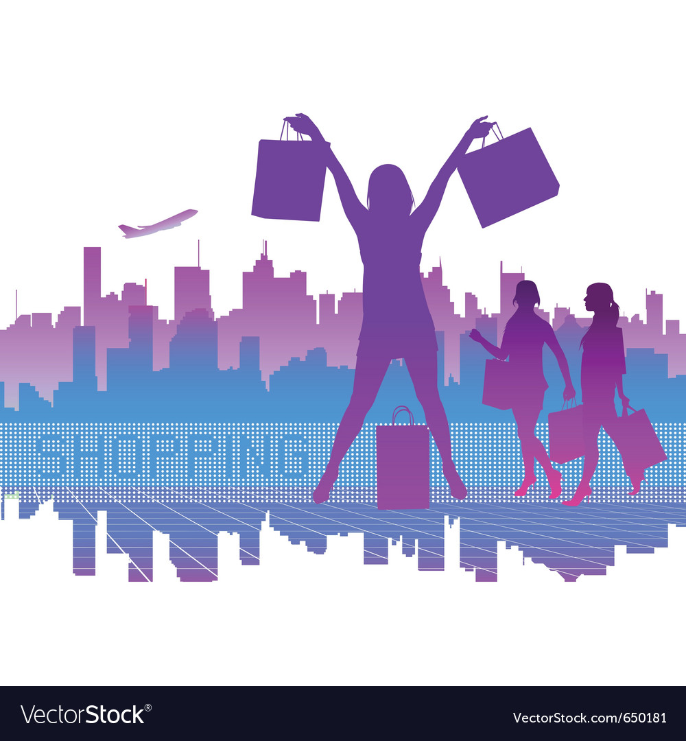 Shopping city vector | Price: 1 Credit (USD $1)