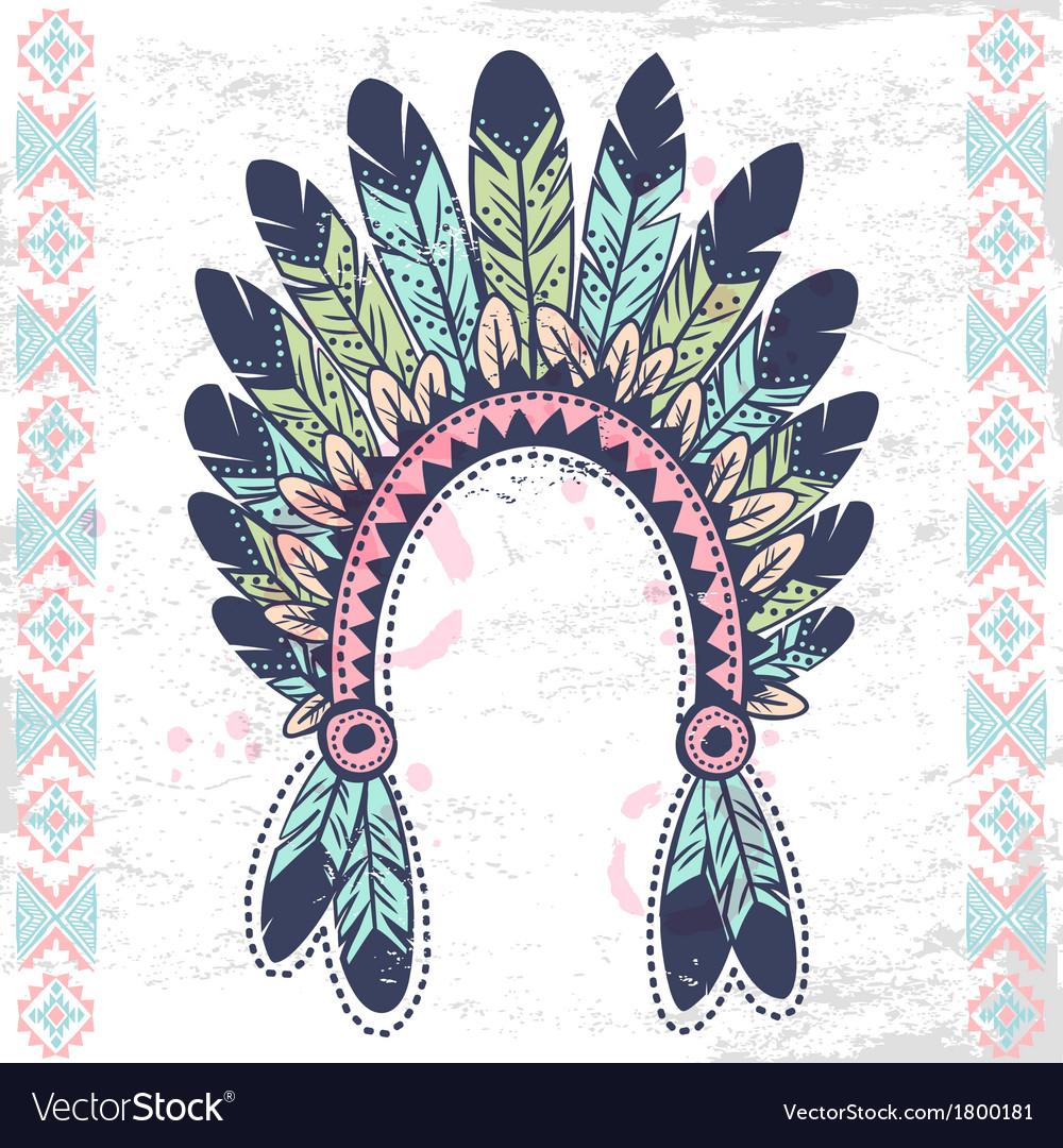 Tribal native american fetaher headband vector | Price: 1 Credit (USD $1)