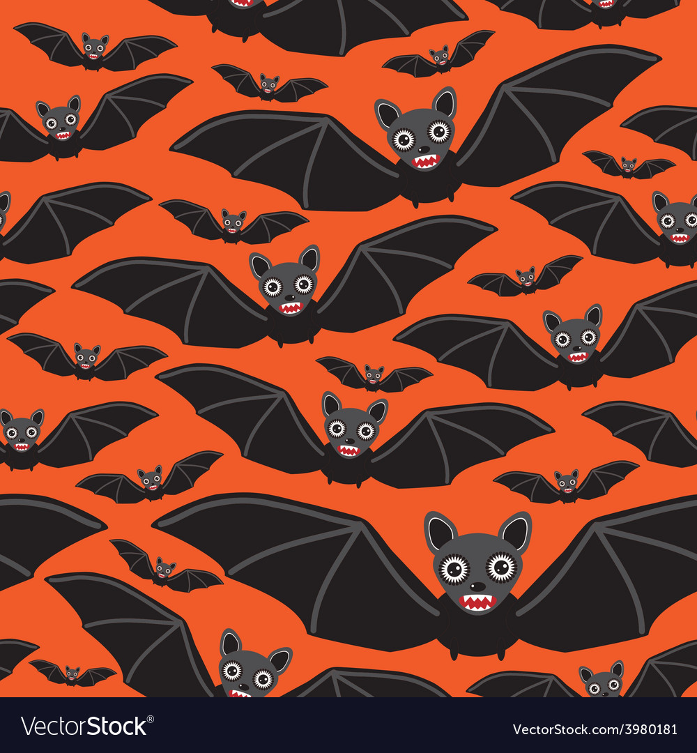 Vampire bats on orange background vector | Price: 1 Credit (USD $1)