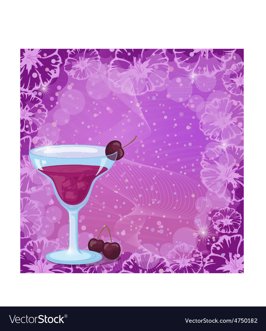 Background with cocktail cherry and flowers vector | Price: 1 Credit (USD $1)