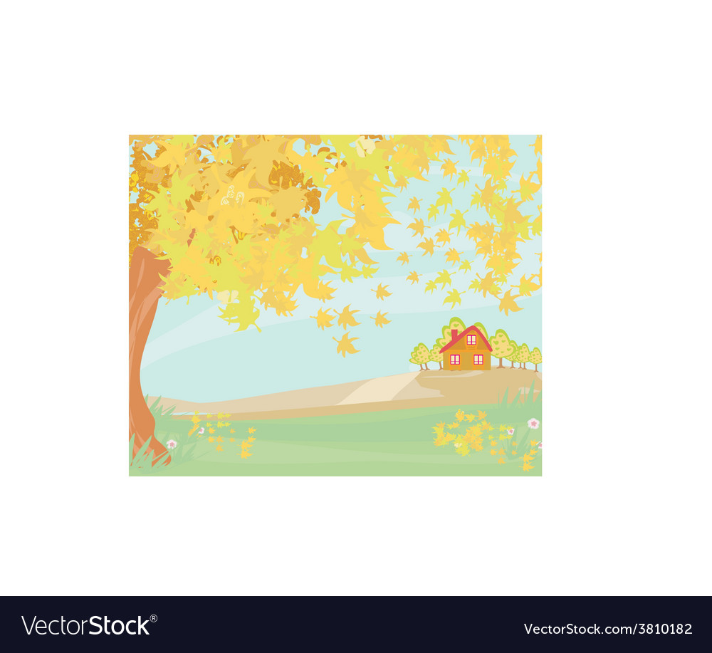 Beautiful autumn landscape vector | Price: 1 Credit (USD $1)