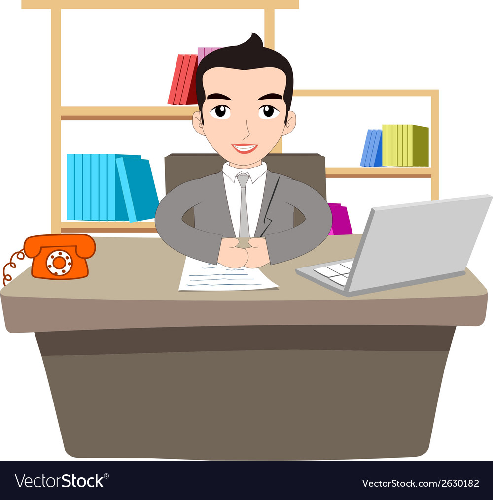 Businessman working at office with laptop vector | Price: 1 Credit (USD $1)