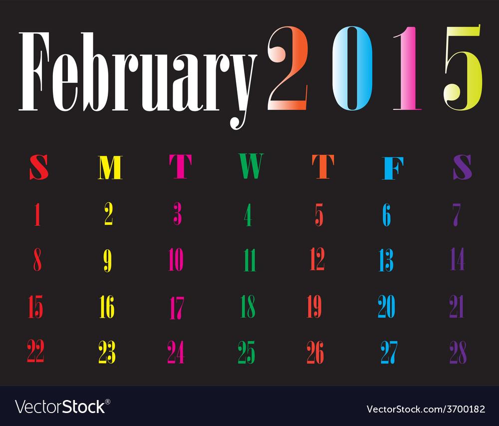 Calendar february 2015 vector   Price: 1 Credit (USD $1)