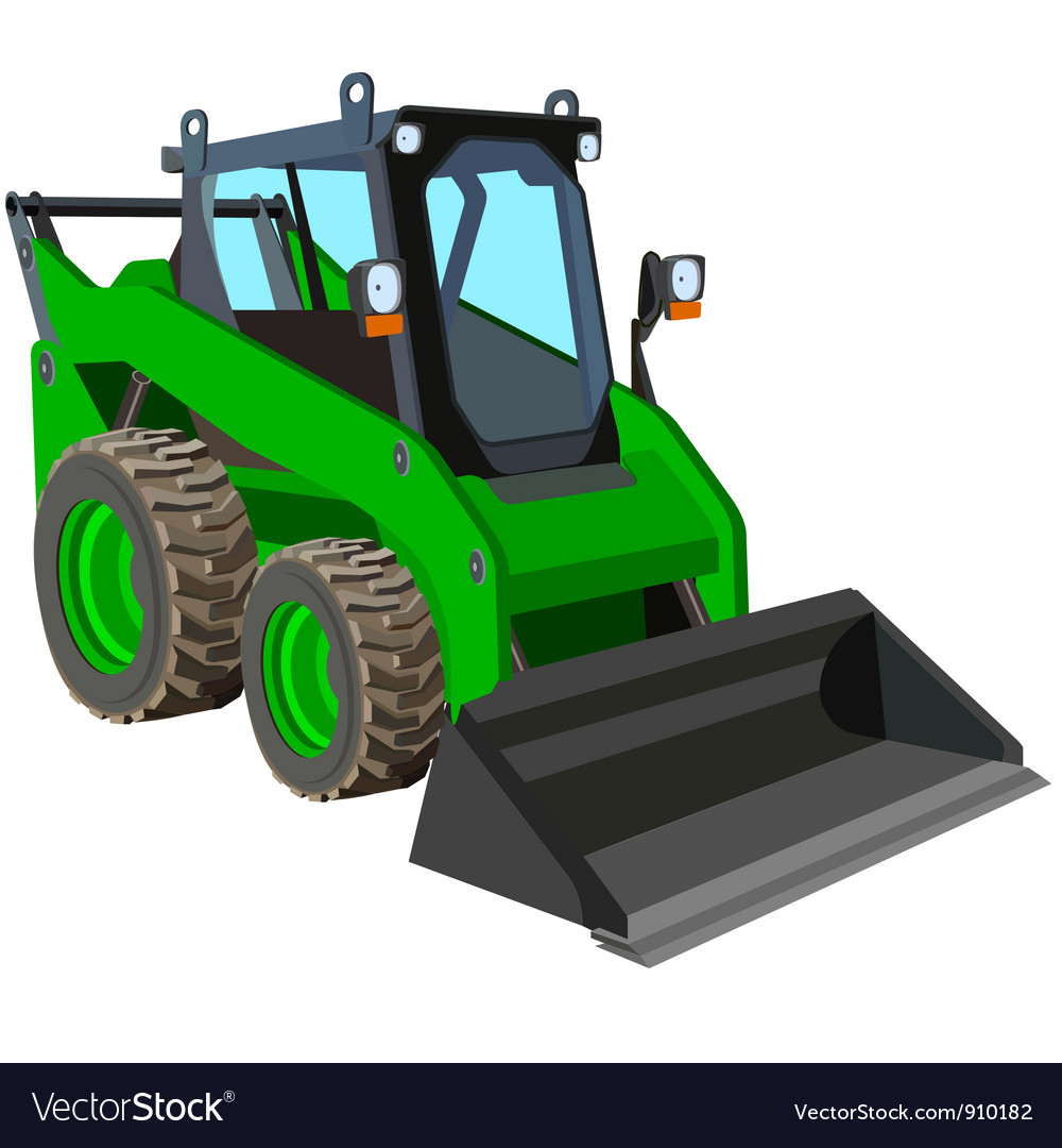 Green skid loader vector | Price: 1 Credit (USD $1)