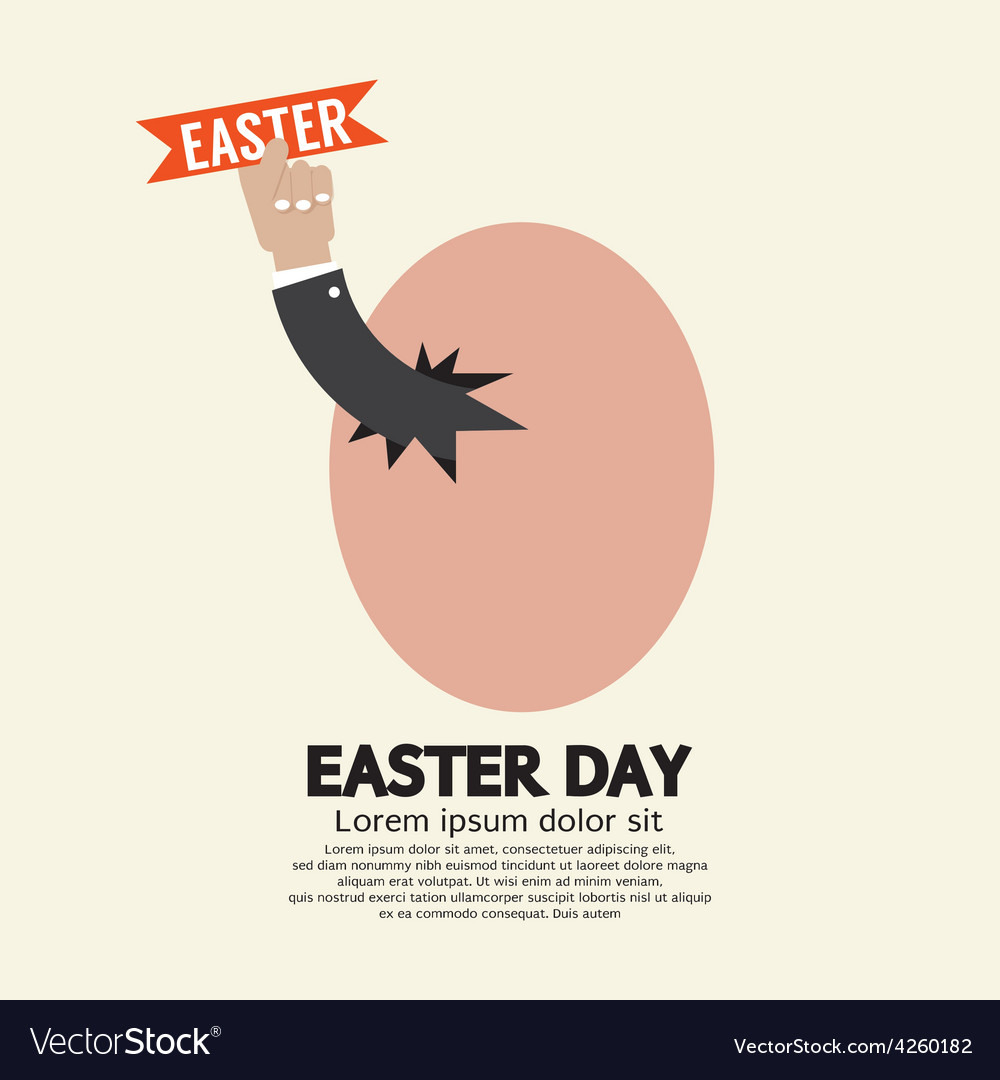 Hand through an egg easter day concept vector | Price: 1 Credit (USD $1)