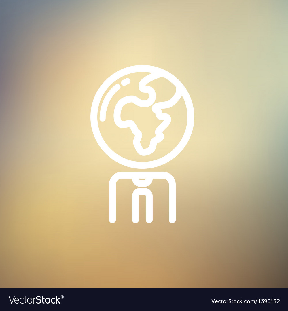 Human with globe head thin line icon vector | Price: 1 Credit (USD $1)
