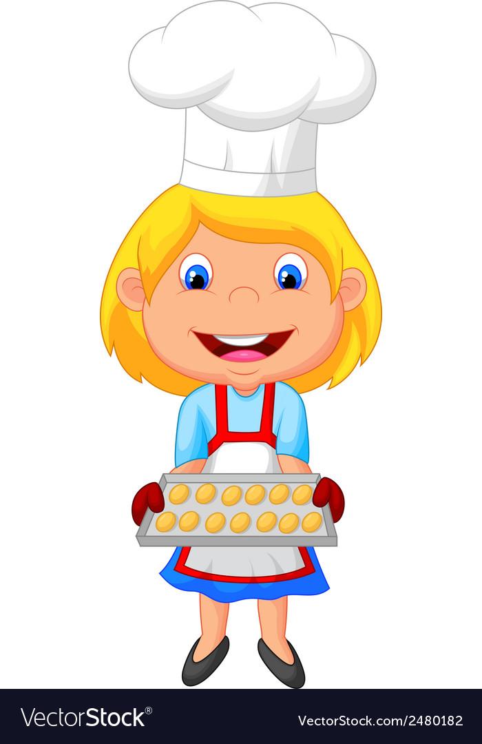 Little girl cartoon baking vector | Price: 1 Credit (USD $1)
