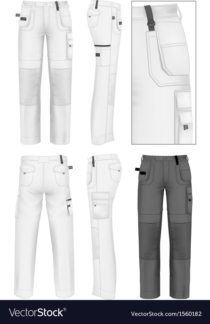 Mens working trousers design template vector | Price: 1 Credit (USD $1)
