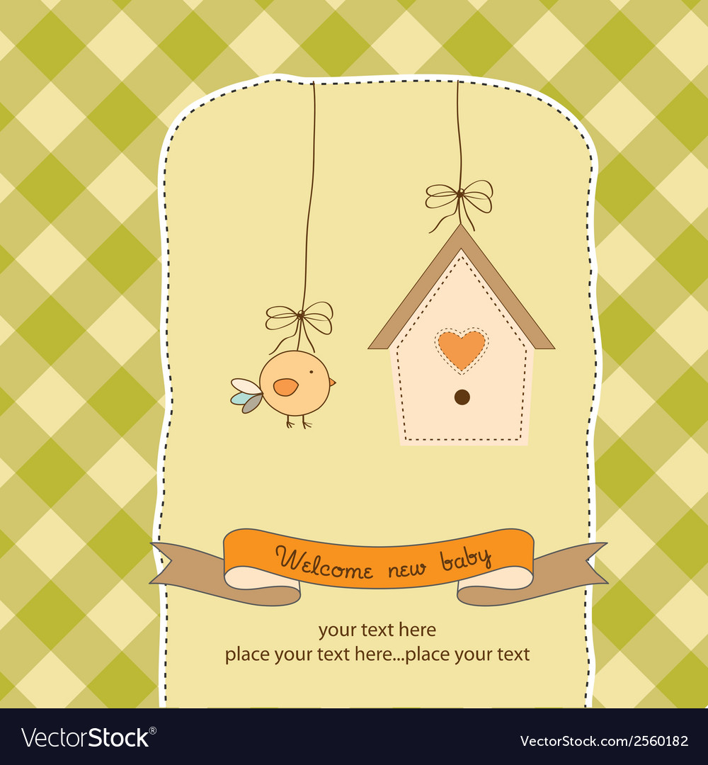 New baby announcement card with chicken vector | Price: 1 Credit (USD $1)