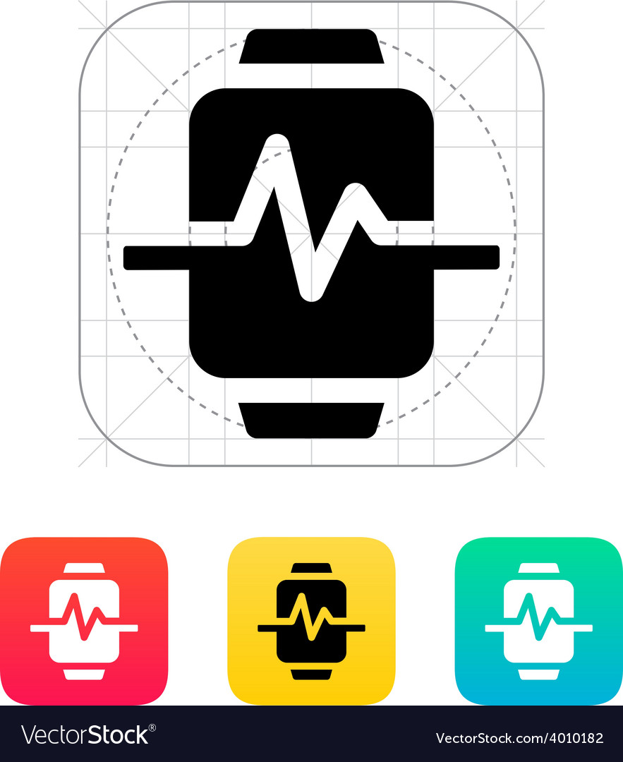 Pulse on smart watch icon vector | Price: 1 Credit (USD $1)