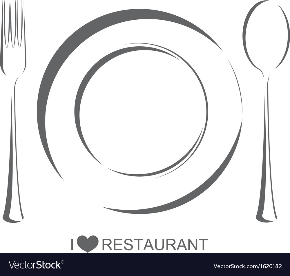 Restaurant 1 plate fork spoon vector | Price: 1 Credit (USD $1)