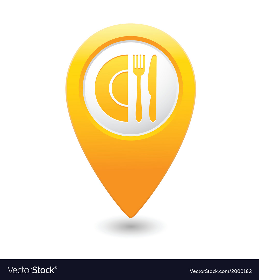 Restaurant icon map pointer yellow vector | Price: 1 Credit (USD $1)
