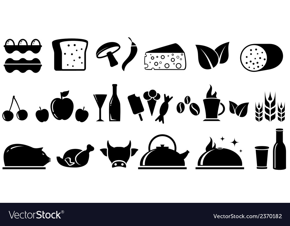 Set food isolated objects vector | Price: 1 Credit (USD $1)