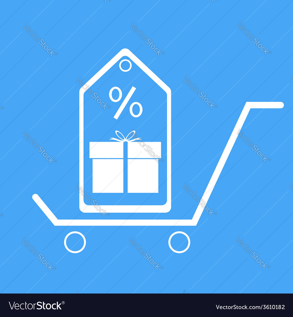 Shopping trolley with gift box vector | Price: 1 Credit (USD $1)