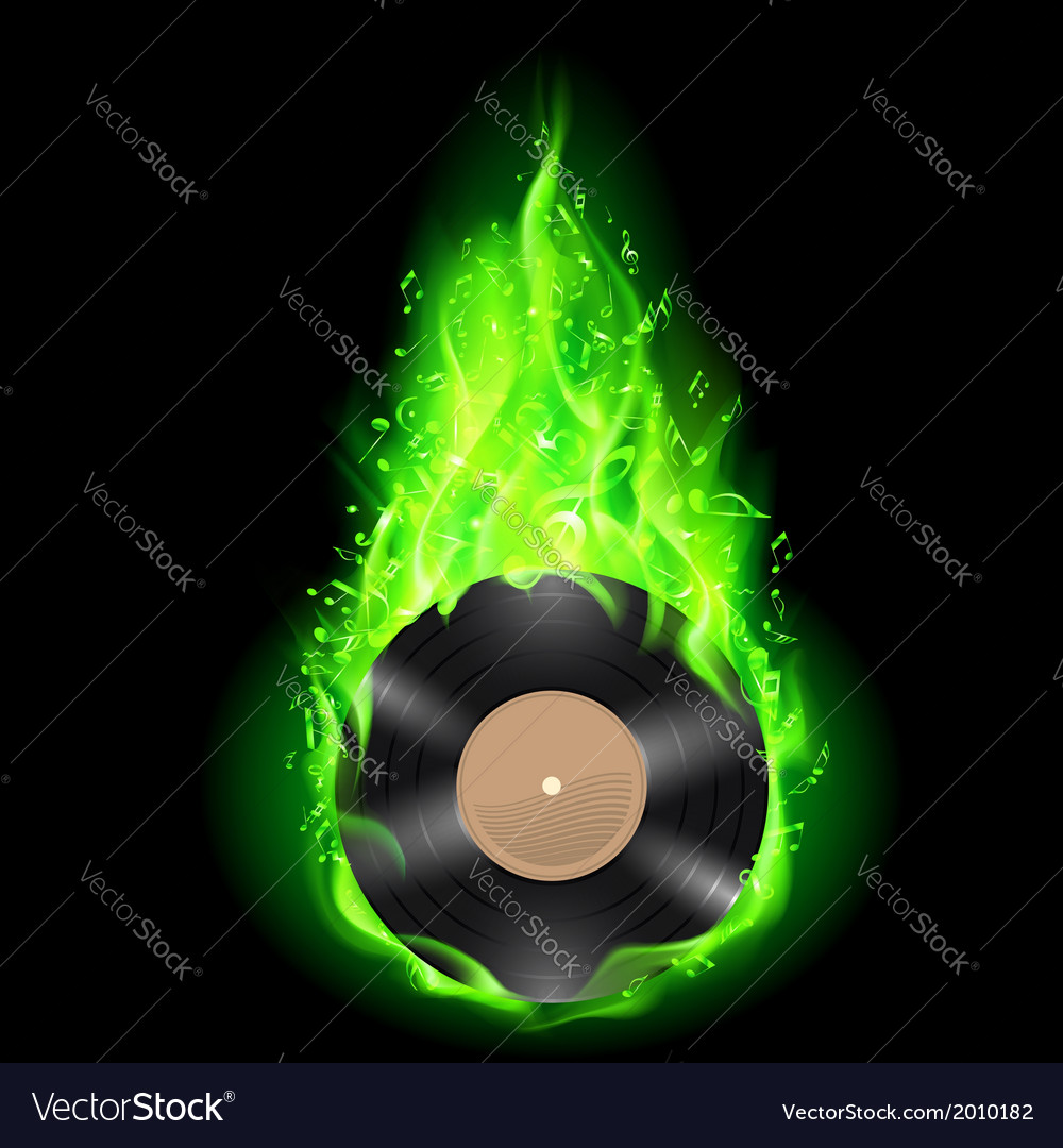 Vinyl disc in green fire vector | Price: 1 Credit (USD $1)