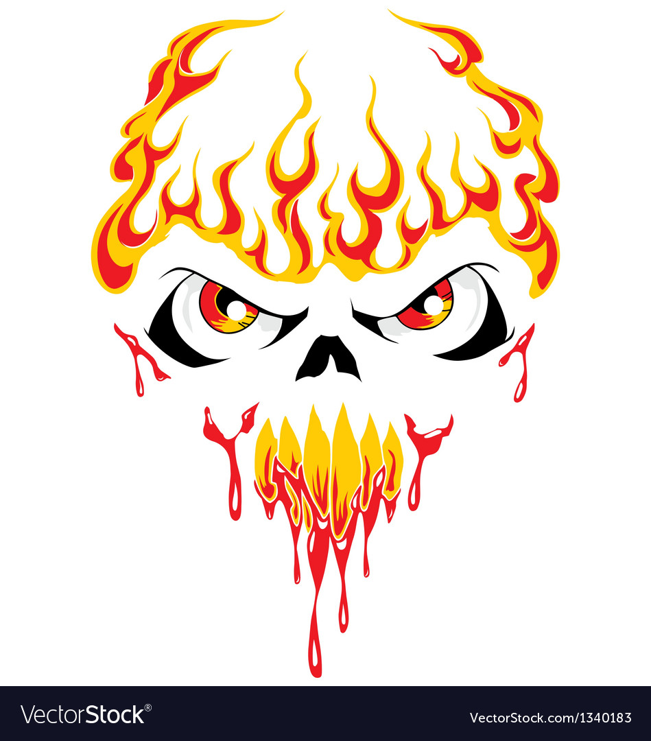 Fire face skull vector | Price: 1 Credit (USD $1)