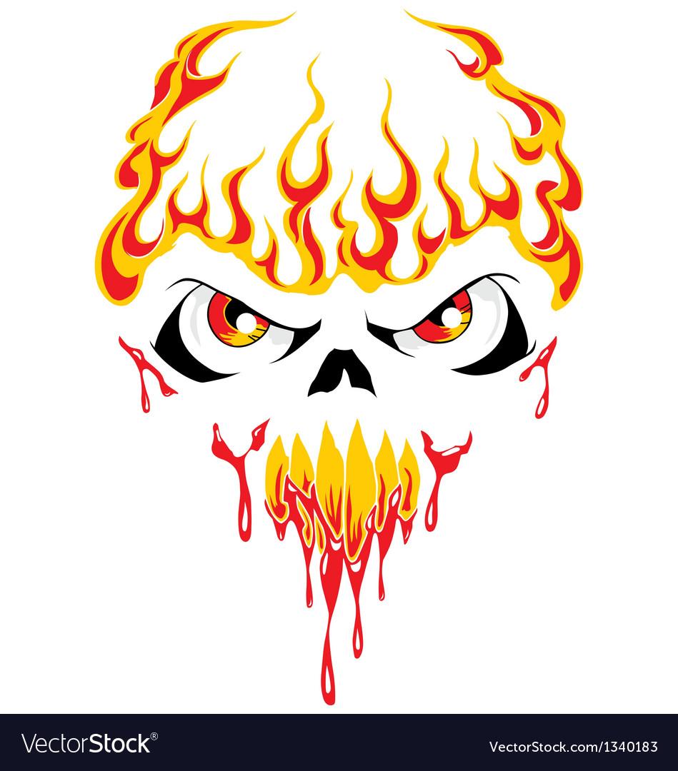 Fire face skull vector | Price: 1 Credit (USD $1)