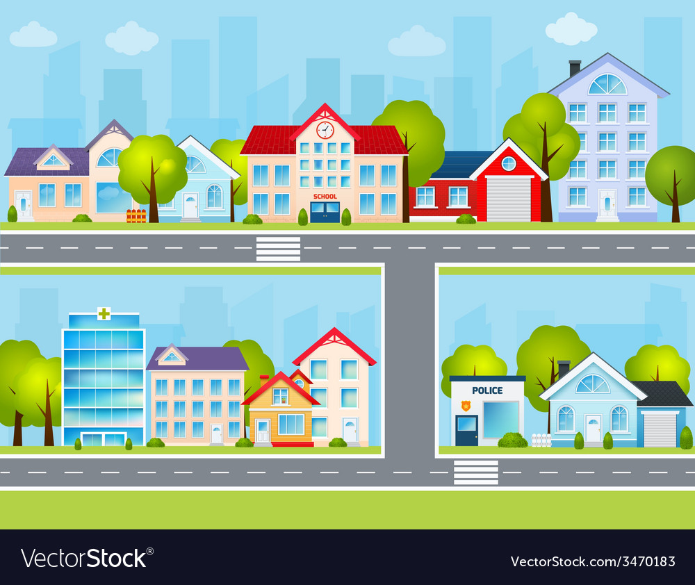 Flat town vector | Price: 1 Credit (USD $1)