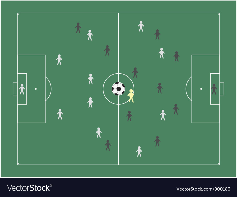 Football pitch with players vector | Price: 1 Credit (USD $1)