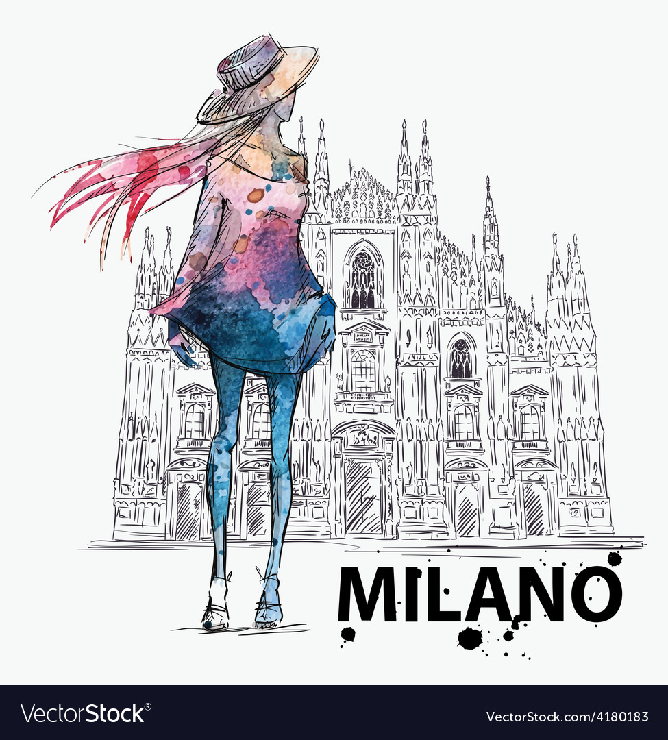 Girl on a milano duomo background vector | Price: 1 Credit (USD $1)