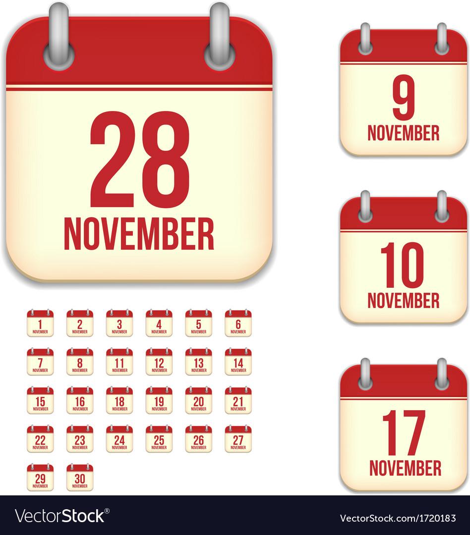 November calendar icons vector | Price: 1 Credit (USD $1)