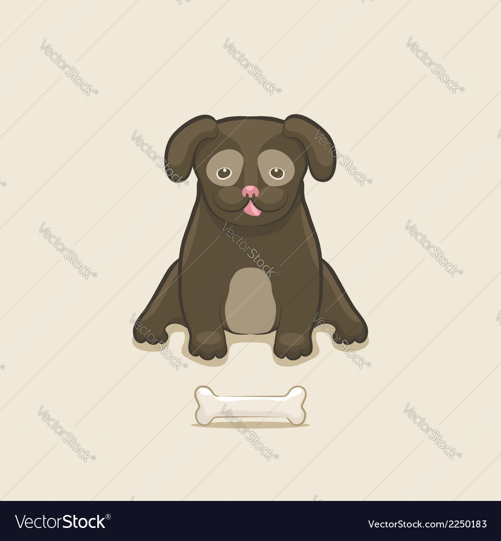 Puppy with bone vector | Price: 1 Credit (USD $1)