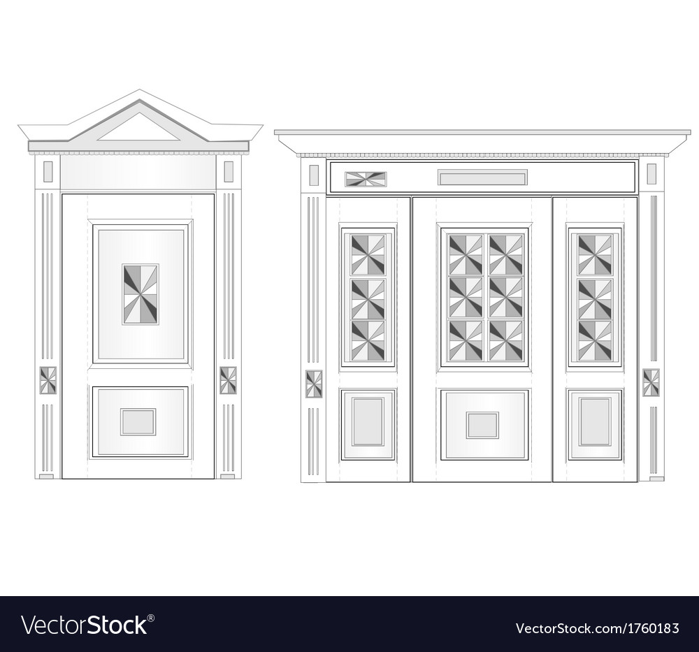 White door on isolated background vector | Price: 1 Credit (USD $1)