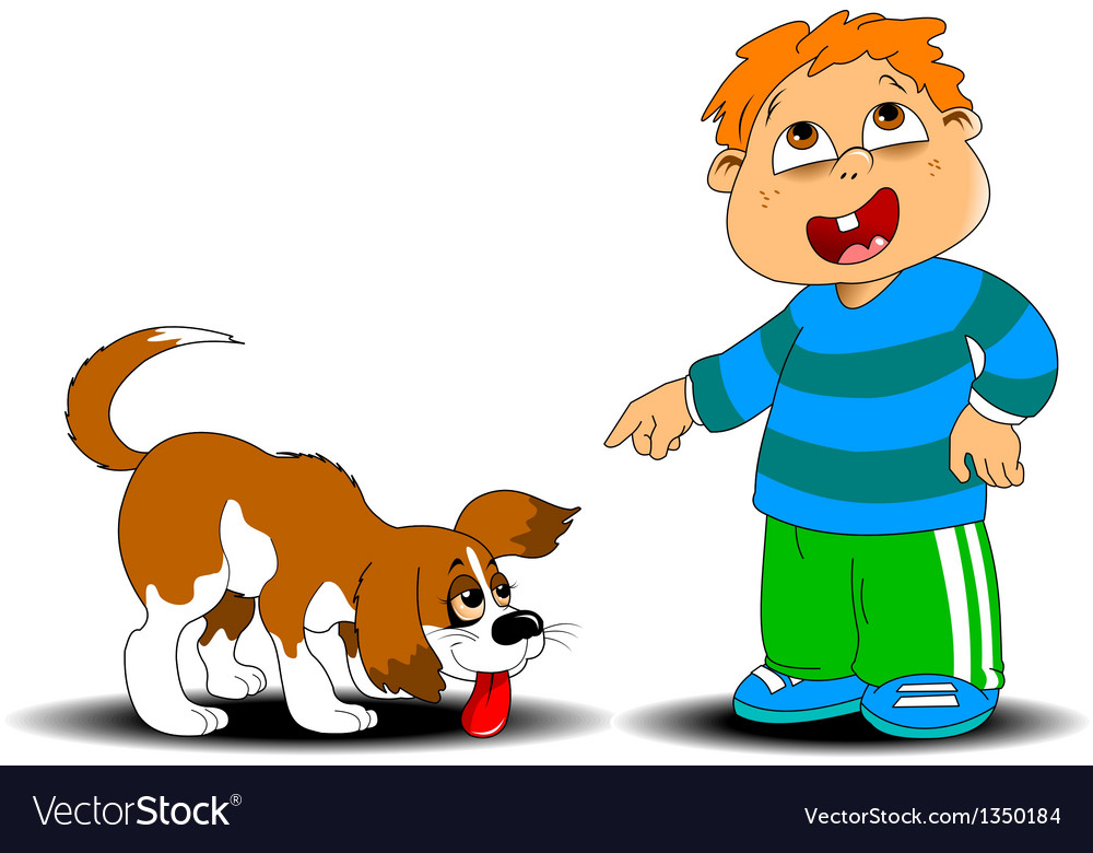 Boy and dog vector | Price: 1 Credit (USD $1)