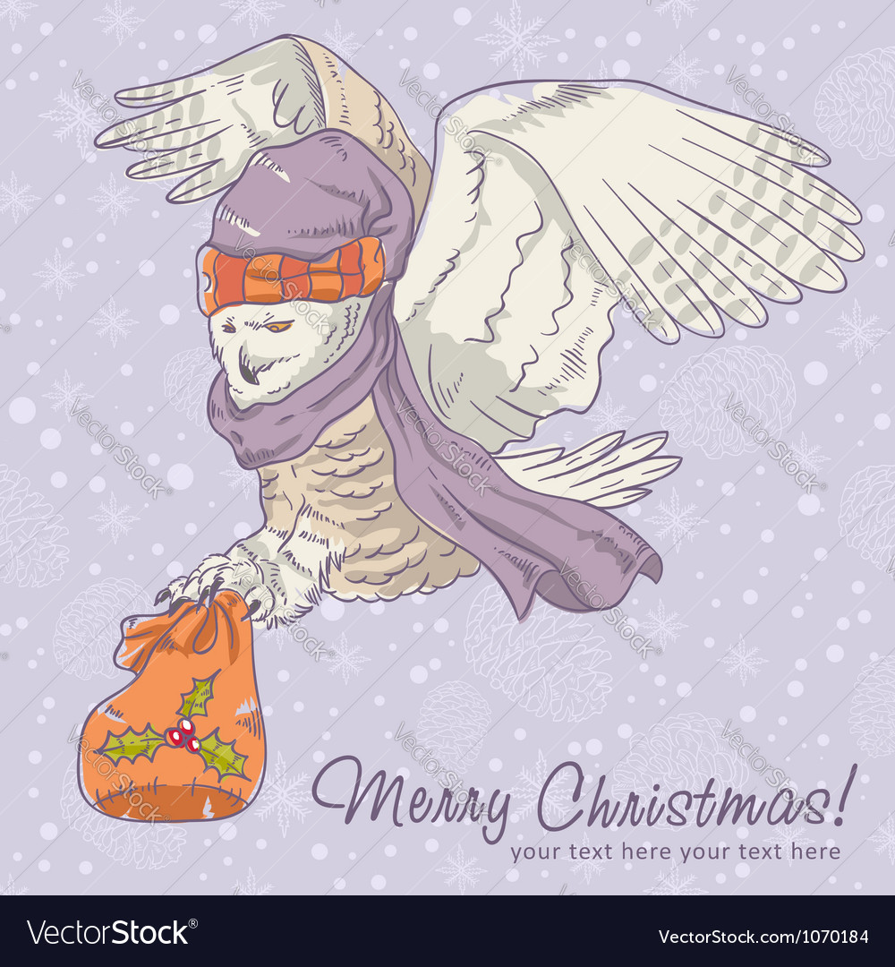Cute winter christmas card of an owl in a hat vector | Price: 3 Credit (USD $3)