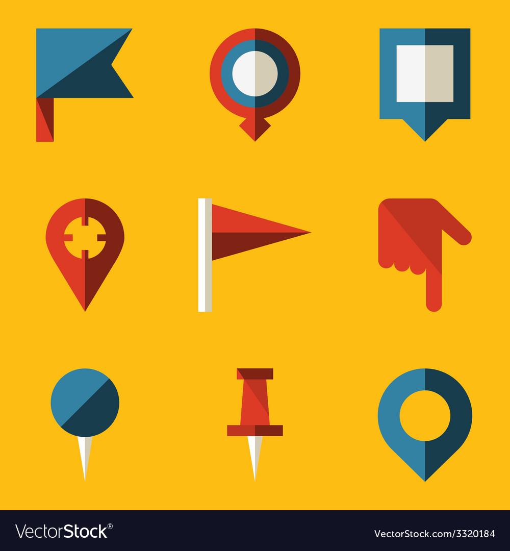 Flat icon set push pin map vector | Price: 1 Credit (USD $1)