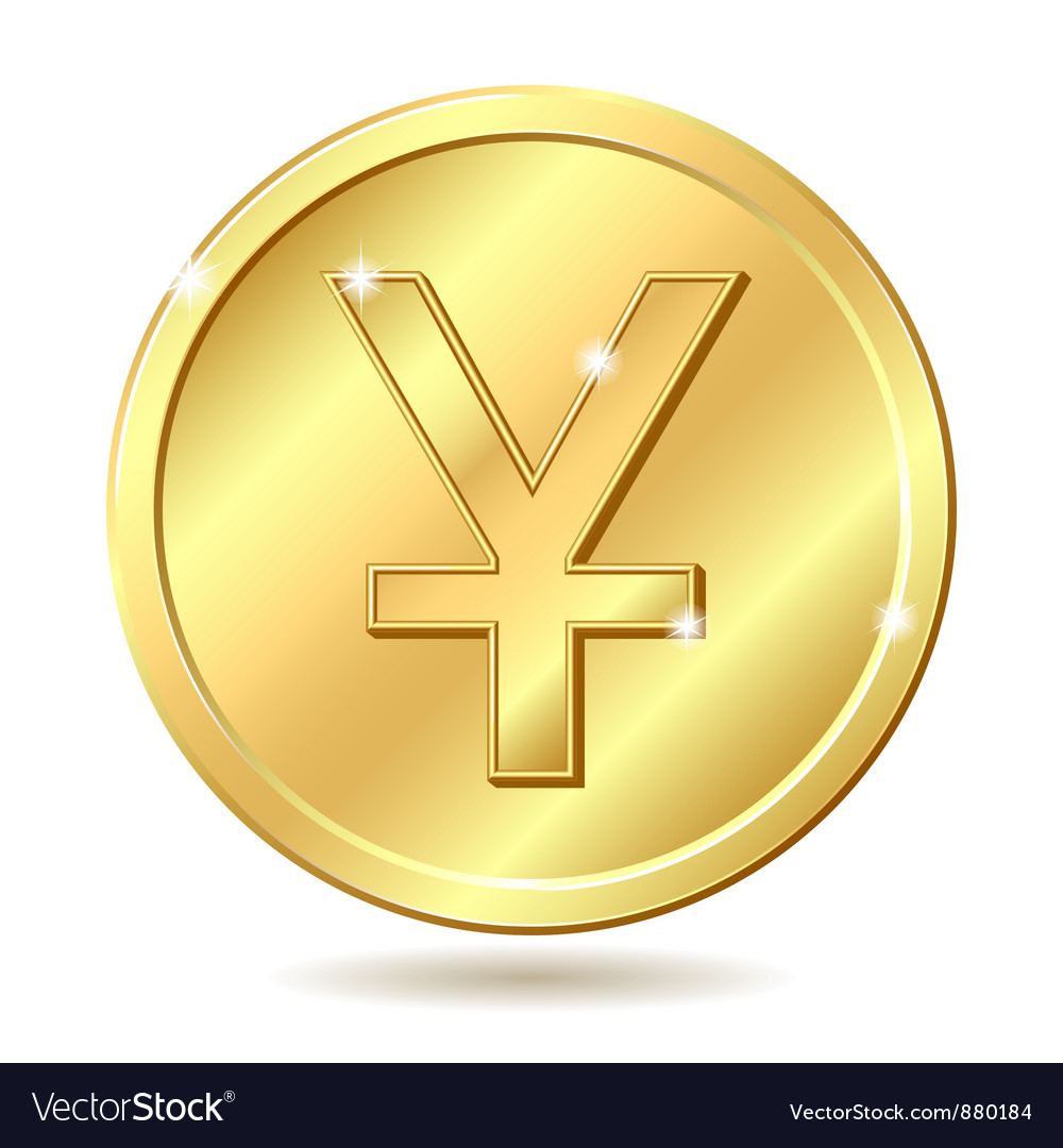 Golden coin with yuan sign vector | Price: 1 Credit (USD $1)