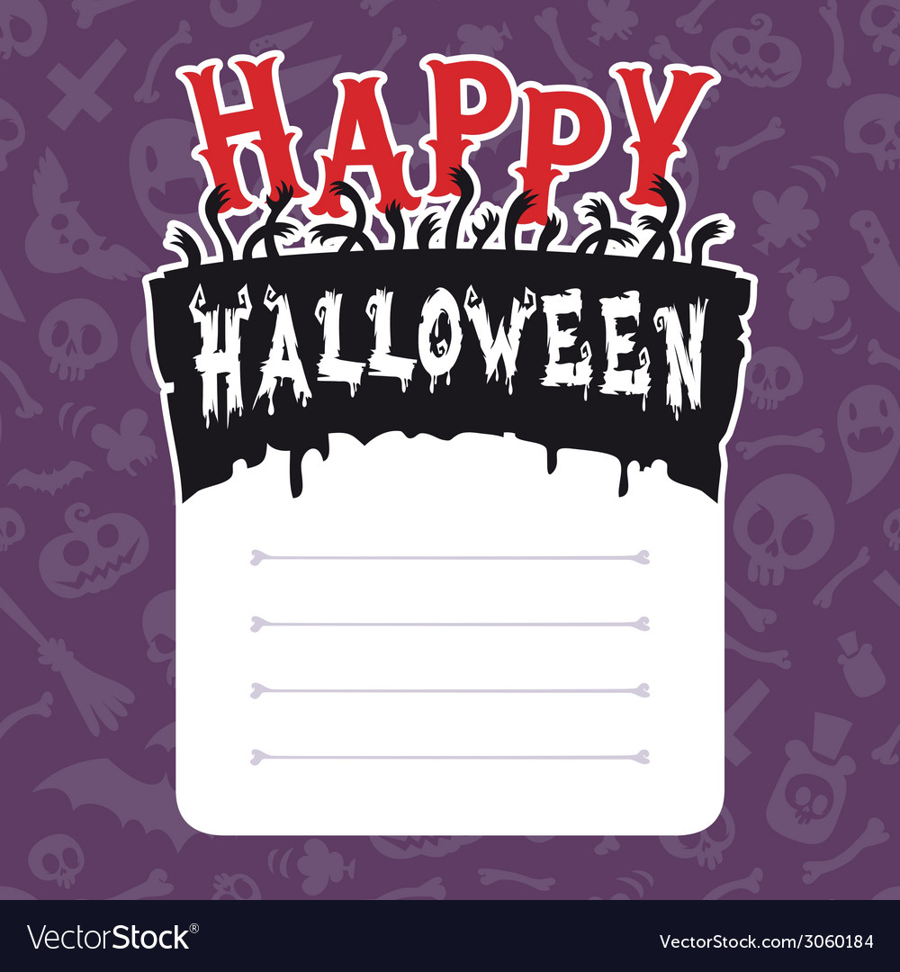 Happy halloween card with text box vector | Price: 1 Credit (USD $1)
